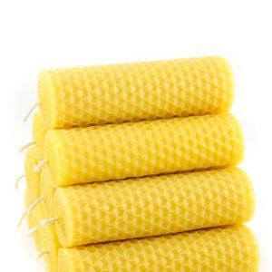 10 Naturra handgerollte Tafelkerzen mit Wabenstruktur 100% Bienenwachs
