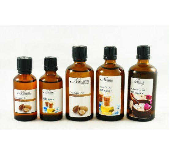 Das Argan Öl Varianten (Reines Basisöl, Basisöl DUO, Wellnessöl Argan+)