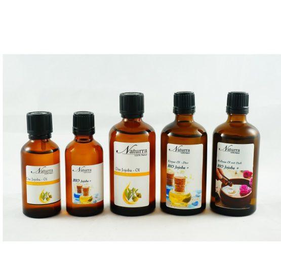 Das Jojoba Öl Varianten (Reines Basisöl, Basisöl DUO, Wellnessöl Jojoba+)