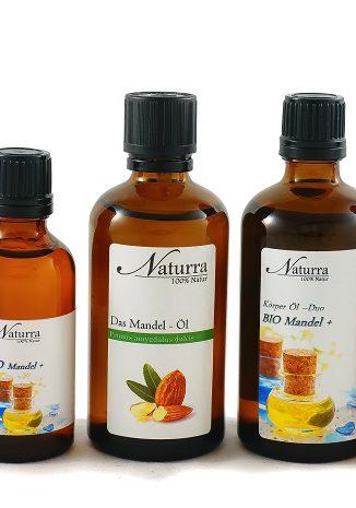 Das Mandel Öl Varianten (Reines Basisöl, Basisöl DUO, Wellnessöl Mandel+)
