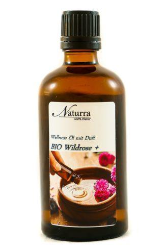 Naturra Wellnessöl Bio Wildrose+ in 100ml lichtgeschützter Glasflasche
