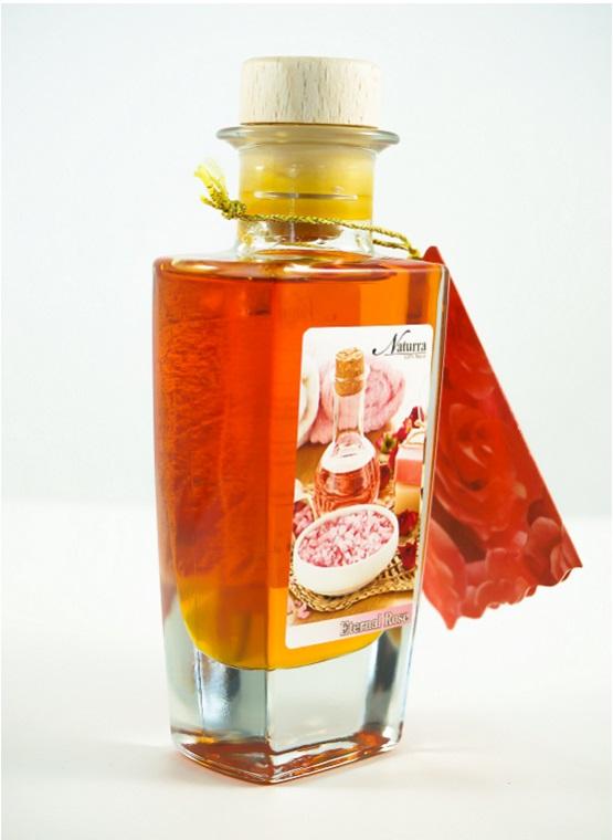 """Naturra Rosenmassageöl """"Eternal Rose"""" 100ml Glas Flakon Seitenansicht"""