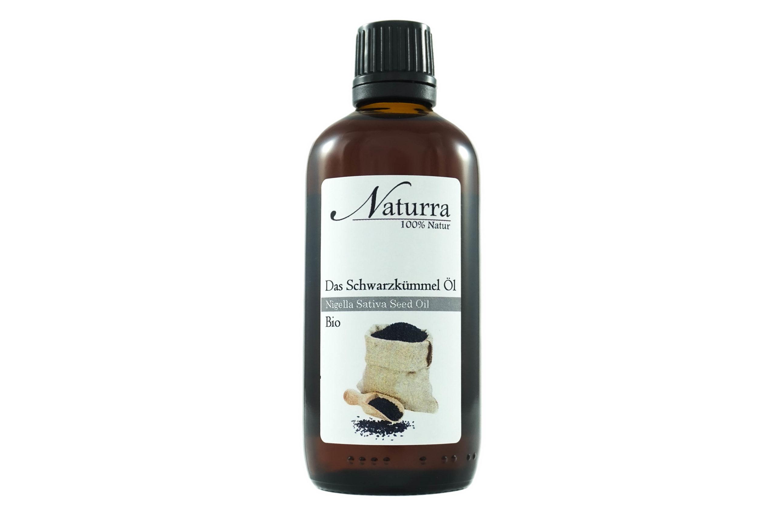Schwarzkümmel Öl unraffiniert Bio kaltgepresst in Glasflasche